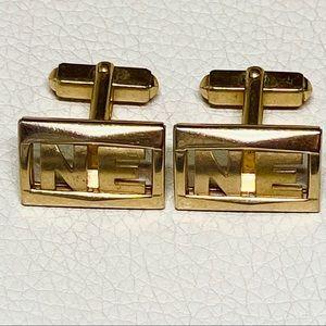 Vintage Gold NE New England Initials Cuff Links
